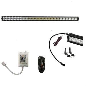 288W RGB Halo LED Light Bar مع تطبيق Bluetooth Wiring Harness Control for Rock lights kit Off Road lights أضواء Bluetooth لشاحنة سيارة