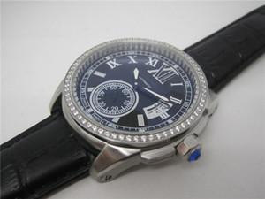 100 베젤 남자 기계식 자동 손목 시계 스테인레스 스틸 케이스 가죽 스트랩 다이아몬드에 대한 패션 시계