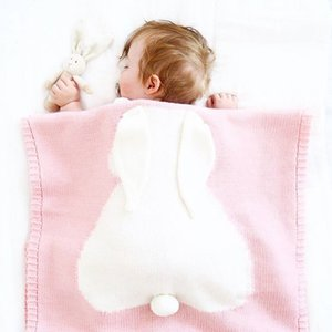 Nuovi arrivi Bambino plaid orecchie di coniglio bambini Filetto del cotone lavorato a maglia tiro coperta Bedding Divano / Aria Mantas 100 130 centimetri *