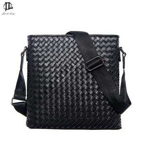 Wholesale- New Men Genuine Leather Briefcase Computer Laptop Bag Brands Business Weave Messenger Portfolios Daily Handbag Travel Bags