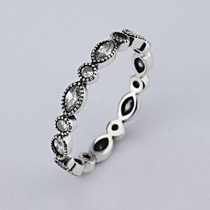 gros nouveau diamant rétro européenne 925 Signature Silver Pave Bague ronde Fit Bijoux Pandora Zircon anniversaire pour femmes RIN