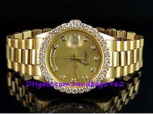 montres de luxe de haute qualité 18K Mens or jaune président 36MM 18038 Diamond Watch