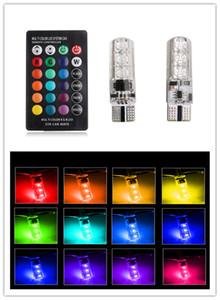 2 PZ silicone RGB ha condotto la lampadina t10 194 con controllo 6 SMD 5050 auto ha condotto la lampadina t10 LED W5W flash flash modalità liscia