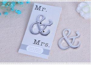 Just Arrival New Popular Mr & Mrs Ampersand Wine Bottle Opener Wedding Favors Free Shipping 100 PCS