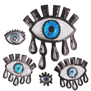 Pailletten Augenaufnäher Aufbügeln Patches für Kleidung Nähen Pailletten Applikation Abzeichen Aufkleber Motiv Stickerei Patches DIY T-Shirt Zubehör