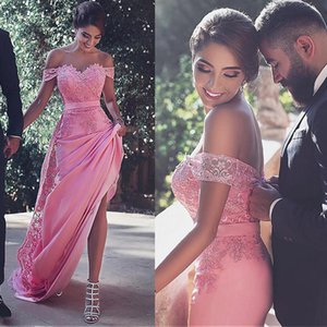 Glamorous Pink Lace Appliques Prom Dresses Fancy New Off Shoulder Fiesta Cap Sleeves Formal Evening Party Dresses Backless Prom Gowns