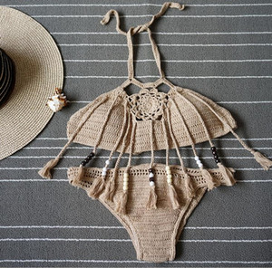 New Verão Bohemian Womens Halter Weave Crochet Swimsuit Tankinis Bikini Set borlas malha Bikini Triângulo Maiô Natação