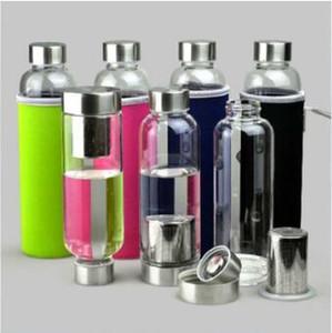 550ml стекло бутылки воды BPA Free высокотемпературная упорная стеклянная бутылка воды с чаем Фильтр Infuser И Nylon Sleeve CA6739-1 60pcs