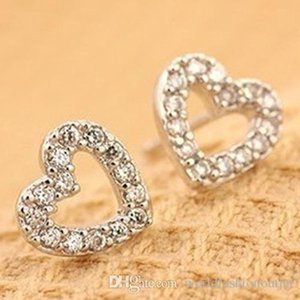 Saplama Küpe Yeni Moda Güzel Kadınlar Aşk Kalp Kristal Kulak Saplama Küpe takı Büyüleyici Lover Kulak Yüzük diamante Küpe eardrop Kulak Acc