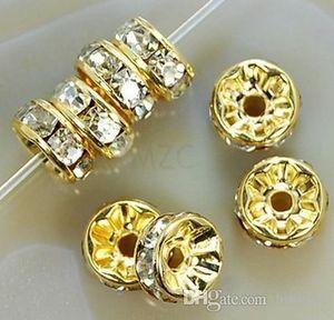 8MM الأبيض كريستال فاصل معدن الذهب مطلي Rondelle حجر الراين الخرز فضفاض لأفضل DIY صنع المجوهرات حبة تناسب سوار j35356