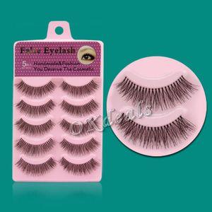 5 Pairs El Yapımı Popüler Dağınık Doğal Sahte Yanlış Eyelashes Paragraf Fase Göz Lashes Makyaj Güzellik Araçları