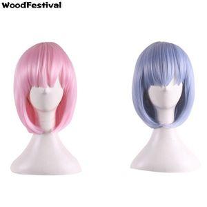 WoodFestival rosa blau Anime Perücken kurze gerade Bob Perücke Cosplay Zero RAM Rem Perücke hitzebeständige Faser synthetische Haar Perücken