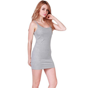 20pcs / lot gros sélectionl Sexy femmes Stretchable Basic Robes manches Slim Robes bodycon Vêtements de couleur unie pour robe de soirée