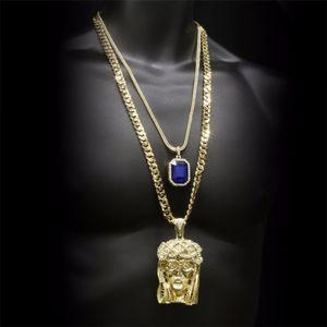 Хип-хоп Кулон с золотой короной в виде головы Иисуса Христа с кристаллами драгоценных камней и кубинских цепочек