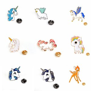 Moda Unicorno Button Pin Badge Collar Pin Spilla Donne Borsa di moda Jean Hat Accessori Carino gioielli