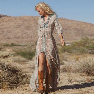 Moda Primavera Estate Donna Vintage elegante scollo a V Boho Long Maxi abito Sexy Ladies Chiffon stampa floreale Split Hippie Dress