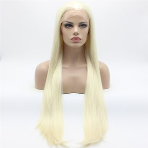 Parrucca Iwona Hair Straight Extra White Light Blonde Mix 22 # 1001/613 Mezza mano legata resistente al calore parrucche sintetiche anteriori