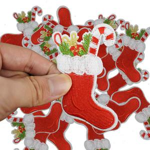 DIY Meia do Natal Patches para Roupas bordadas Ferro remendo Applique ferro em Casacos Jeans Avental Patches de costura Acessórios Emblema