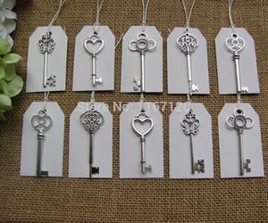 Wholesale- Mixed 50pcs Antique Silver Skeleton Keys + 50pcs white Tags Wedding Skeleton Keys Charm 53-68mm Big size