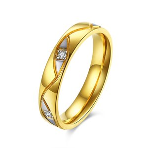 Wholesale Trendy Wedding Rings Woman Gold Color With Crystal Cuvy Strip Decorated Couple Rings Female Best Selected For Gilrs