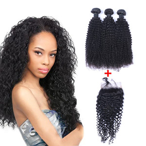Brazilian Kinky Curly Human Virgin Weaves com 4x4 Lace Fechamento Branqueado Knots 100g / PC Cor Natural Dupla WeFts Habr Extensões