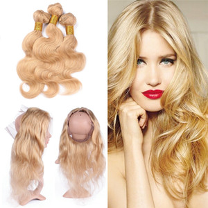 Honey Blonde # 27 vague de corps Tissages cheveux oreille à l'oreille 360 Lace Frontal avec bébé cheveux 360 Lace Frontal Avec Bundles cheveux