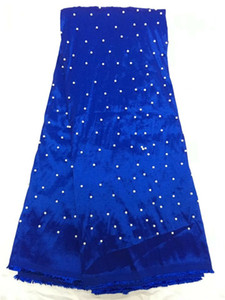 5 Yards pc Beautiful royal blue George lace fabric with beads decoration african cotton lace for clothes QG1-3