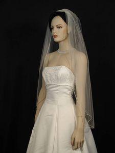 One Layer Fingertip Length Velo de novia blanco Marfil Champagne Velo nupcial Rhinestones Edge 128a