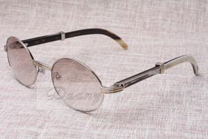 Gafas de sol redondas Gafas de cuerno de ganado 7550178 Cuernos de mezcla natural Hombres y mujeres Gafas de sol Gafass Glassess Gafas Tamaño: 55-22-135mm