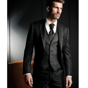 Black Wedding Groom Tuxedos 2018 Classic Fit Notched Lapel One Button Men Suits Three Piece Groomsmen Suti (Jacket + Pants + Vest )