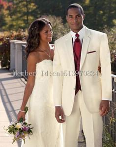 Wholesale- 2016 New Ivory Two Button Groom Tuxedo notch Lapel Formal Wedding Dress Groomsman Suit for Men(Jacket+Pants+Vest+Tie)custom ma
