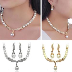 Conjunto de la joyería de la novia Crystal Rhinestone perla colgante, collar Stud Earrings Set mujeres Dama de honor del partido