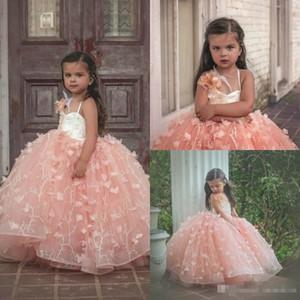 Blush Pink 3D Floral Lace Flower Girl Dresses per Vintage Wedding Party Puffy Tutu Chapel Train 2017 Bambino prima abito da comunione
