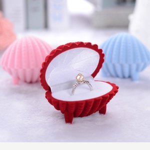 anillo de las mujeres nuevas de la manera pendiente de caja pendientes de terciopelo valentine regalo muestra el caso de Shell Forma joyería