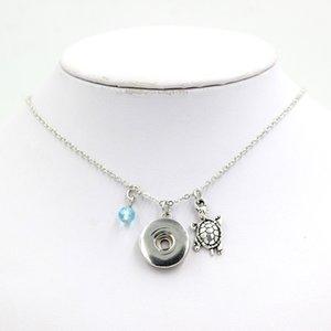 Новое прибытие Оптовая сменные Оснастки кулон ожерелье 18 мм кнопка DIY ювелирные изделия камень Черепаха ожерелье подарок Bijoux воротник