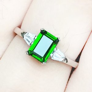 Simple fashion silver ring with green stone 4mm*6mm natural diopside ring for woman real sterling silver engagement ring