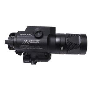 새로운 SF X400V-IR 손전등 전술 LED 총 백색 빛 및 적외선 레이저로 적외선 출력 검정