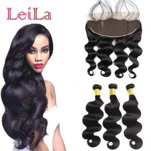 Peruvian13x4 Lace Frontal Schliessen mit Bundles Günstige 9A Körper-Wellen-Jungfrau-Haare 4 Stück Menschliches Haar mit Spitze Frontal Closure