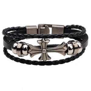 Europe et les États-Unis hommes et femmes rétro bracelet en cuir punk en gros tissés à la main perles multicouches croisées pendentif en alliage