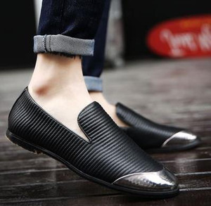 2017 Moda Tasarım Slip-On Parlak Deri Altın Erkekler Rahat Elbise Ayakkabı Yürüyüş Erkekler üzerinde Kayma kaymaz Ayakkabı Düz Ayakkabı Erkekler düğün sheos