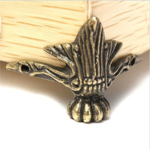 Wholesale- 4pcs/lot Antique Brass Jewelry Chest Wood Box Decorative Feet Leg Corner Protector Vintage Decoration YL878443