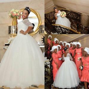 2016 Nuevo Africano Una línea Vestidos de novia Ilusión Joya Cuello Mangas medias Perlas Con cuentas Vestidos de novia de tul Barrido de tren Vestidos de novia personalizados