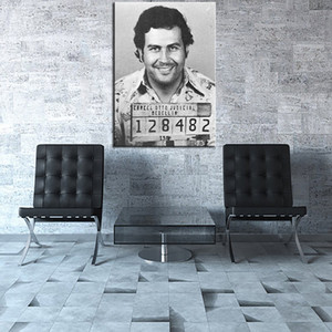 Famous Handpainted Portrait Art Oil painting Pablo Escobar Mug Shot 1991 Vertical,Home Decor on High Quality Canvas size can customized