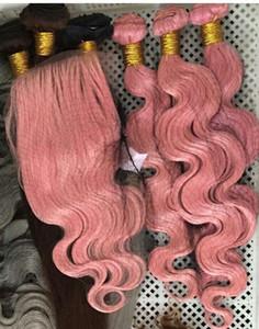 Les cheveux raides brésiliens de vague de corps tisse les doubles trames 100g / pc la couleur rose peut être les prolongements colorés de cheveux de Remy