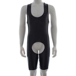 Ropa interior para hombre Sexy Body elástico Sin mangas Teddy Jumpsuit Transpirable Open Crotch Back Leotard Traje de club nocturno