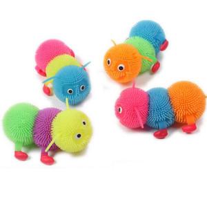5pcs lot New Fashion Luminous Insolubility Vent Balls Colorful Caterpillar Toy Flashing Hairy Balls Color Random