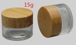 15g bocal en verre clair cosmétique pot de crème pour le visage avec couvercle en bambou e réservoir d'huile cire de cig pot de réserve