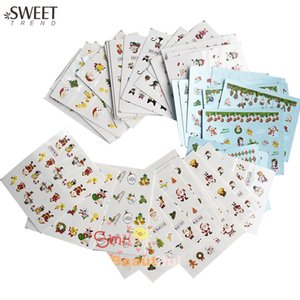 Wholesale- SWEET TREND 44 Sheets Mixed Christmas Style Nail Art Water Transfer Sticker Manicure Decor Beauty Watermark Nail Tip Decal NJ004