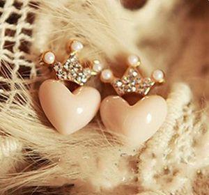 جديد بالجملة شحن مجاني الكورية البوب أقراط brinco للنساء تقليد الماس تاج قلوب القرط