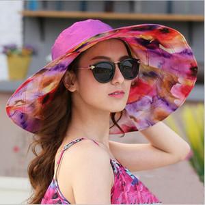 Toptan-Kadınlar Açık UV Koruma Büyük saçakları Plaj Şapka HT51187 için 2017 Moda Tasarımı Çiçek Katlanabilir Brimmed Güneş Şapka Yaz Şapka
